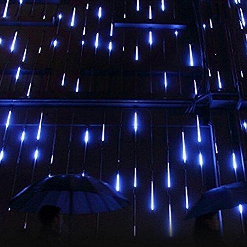 STONG 30 CM 8 tubi Bercy doccia pioggia luci 144 LED stringa esterna impermeabile per Natale matrimonio partito albero decorativo (Blu, 30CM)