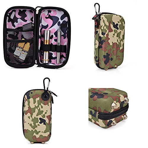 Vape & Mod Portable Travel Case Compatible With Davinci The Ascent Portable Vaporizer |Semi-Hard Protective Shell With Standing Capability & Carabiner Hook For Easy Attachment|Green Camo & Pink Camo front-1027972