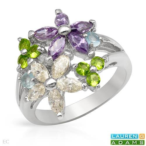 LAUREN G. ADAMS Stylish Ring With Cubic zirconia and Simulated gems in 925 Sterling silver. Total item weight 5.6g (Size 7)