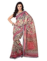 Anvi Creations Supernet Cotton Printed Grey Pink Saree (Grey_Free Size)
