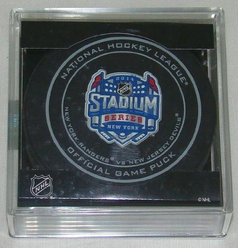2014 NHL Stadium Series New York Official Game Puck in Cube - Rangers vs. Devils at Amazon.com