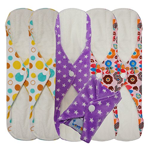 Love My® /Mama/Girl/Maiden/Antibacterial Bamboo fiber/ Menstrual Pads/ Reusable/ Panty Liners - 6pcs pack-(Large size) (Mama Cloth Pads compare prices)