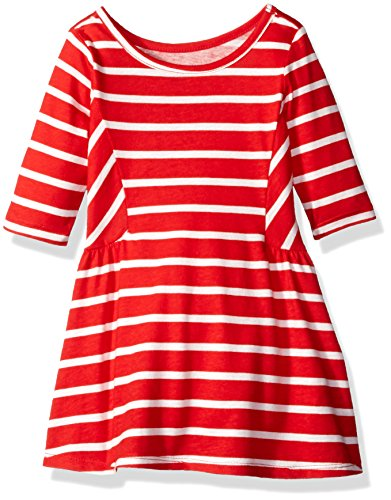 the-childrens-place-little-girls-and-toddler-3-4-length-stripe-short-sleeve-china-red-2t