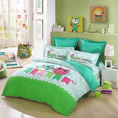 QQI LOVO KID'S Best Friends Owl 100% Cotton 3pcs Bedding Set Queen
