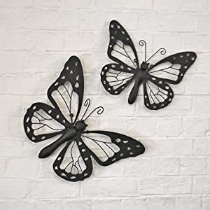 Set of Two Decorative Metal Butterfly Garden Wall Art Black / Brown Finish by Gardens2you