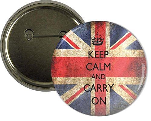 Rikki KnightTM Keep Calm & Carry On British Flag Design 2.25 inch Pinback Button Badge