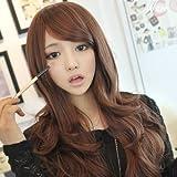 Womens-Girls-Fashion-Wavy-Curly-Long-Hair-Human-Full-Wigs-Hairnet