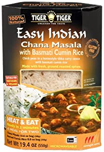Tiger Easy Indian Heat & Eat, Chana Masala with Basmati Cumin Rice, 19.4-Ounce Boxes (Pack of 6)