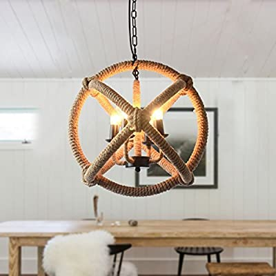 CHXDD American country style creative retro-industrial hemp rope chandelier Pendant Hanging Lamp Fixture-4 light