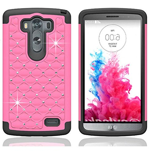Mylife Goddess Of Love Pink {Classy Diamond Design} 2 Piece Hybrid Reflex Case For The Lg G3 Smartphone (Outer Rubberized Fit On Protector Shell + Internal Silicone Secure-Grip Bumper Gel) front-47837