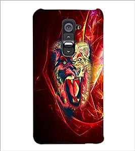 PrintDhaba Lion D-4539 Back Case Cover for LG G2 (Multi-Coloured)