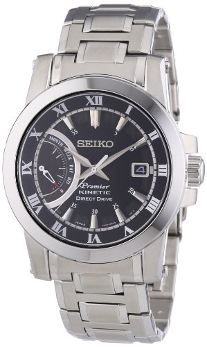 Seiko Premier Kinetic Black Dial Stainless Steel Bracelet Mens Watch Srg009