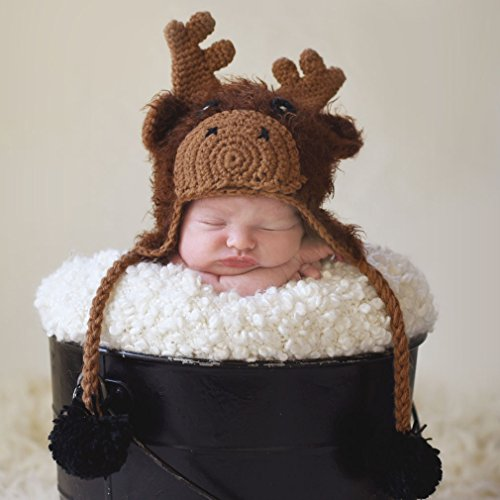 Huggalugs Baby and Toddler Boys or Girls Moose Beanie Hat