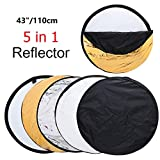 43'' Photography Reflector Photo Video Studio Multi Collapsible Disc 5-in-1 Lighting Reflector for Softbox Lighting Portable Collapsible Light Reflect