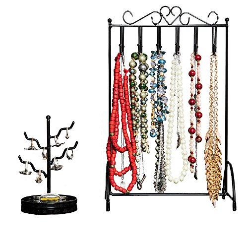 Specialty stili collana supporto e porta anelli Set 2si adatta su qualsiasi Dresser mantiene gioielli sicuro e maneggevole no-tip stabilità in Nero, versatile per completare qualsiasi tipo di arredamento