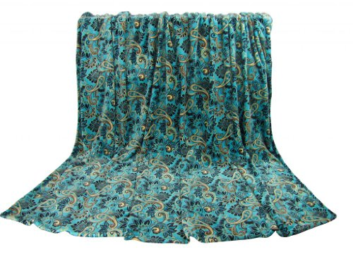 "Euphoria Brand Ultra Fluffy Fleece Flannel Prints Sofa Tv Blanket Throw Bedspread Paisley Baroque Style Floral In Teal King Size 87X80"" front-913371"