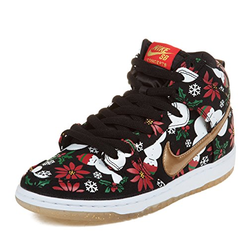 """Nike Mens Dunk High Sb Prm Cncpts """"Ugly Sweater Package"""" Black/Metallic Gold Fabric Skateboarding Size 10"""