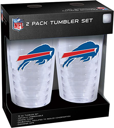NFL Buffalo Bills Slimline Tumber Set with Patch (2-Piece), 16-Ounce, Clear