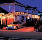LEDwholesalers 16 Feet 128 LEDs Icicle Christmas Holiday Lights with White Wire, Warm White Light, X059WW