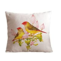 "ilkin personalized Custom Cotton Linen Square Decorative Throw Pillow Case Cushion Cover Two birds stand in tree 18 ""X18 "" from ilkin"