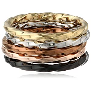 Stainless Steel Multi-Color Twist Stacking Ring Set, Size 7
