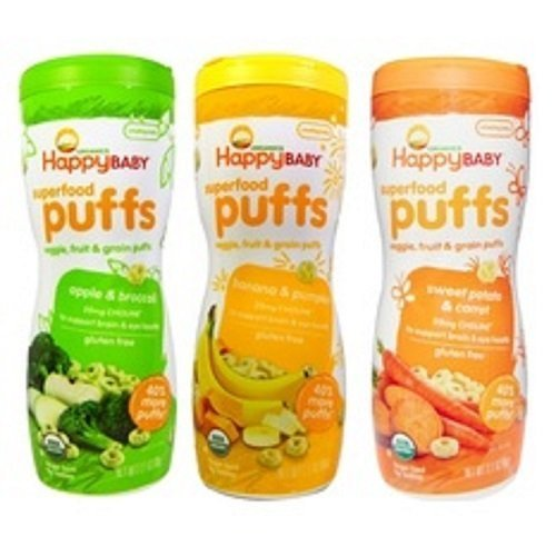 Happy Baby Organic Puffs 2.1 Oz Mixed 3 Pack ( 1 Banana and Pumpkin, 1 Sweet potato and Carrot, 1 Apple and Broccoli) (First Baby Finger Food compare prices)
