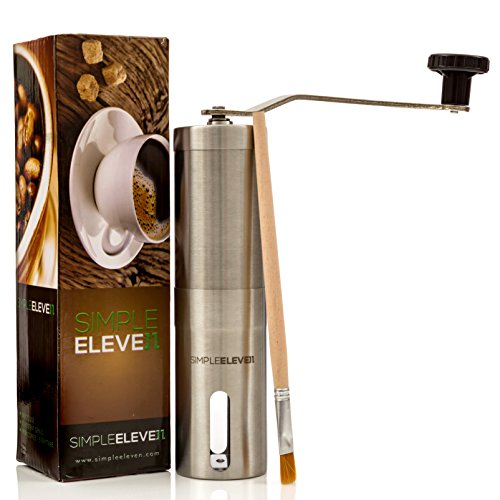 Premium Manual Coffee Grinder | High Quality Adjustable Ceramic Burr | Professional Stainless Steel | Hand Crank Operated | FREE Brush | Perfect for French Press, Espresso or as Spice and Herb Grinder