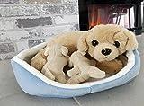 Brigamo Spiele 13437 - Plüsch Hund Golden Retriever mit Welpen im Körbchen aus Plüsch thumbnail
