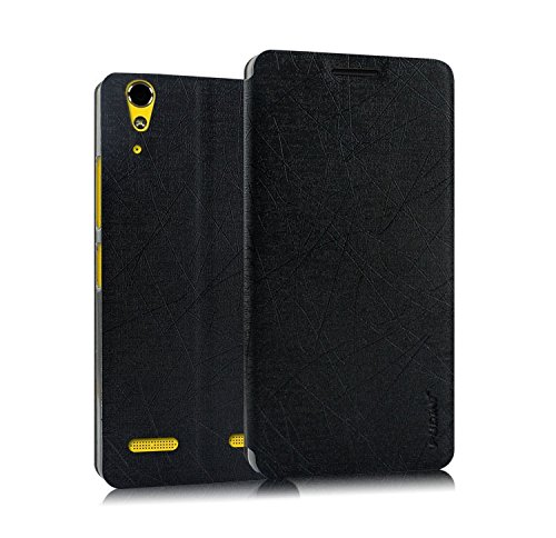 Pudini® Yusi Rain Series Leather Flip Cover Stand Case for Lenovo A6000 Plus / A6000 - Black