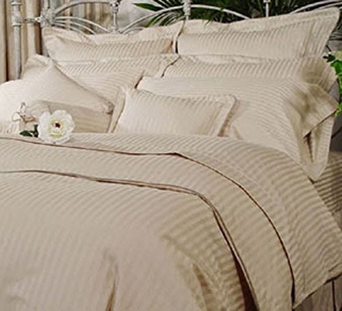 Srp Linen 400-Thread-Count Super Soft Button Closure Designer 3-Piece Luxury Duvet Cover Set California King/ Western King Stripe Beige front-1075075