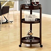 Hot Sale Monarch Specialties Bar Cart with a Serving Tray on Castors, Cappuccino