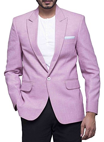 Azio Design Solid corel pink Blazer For Men