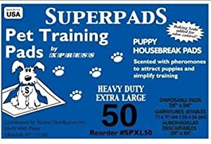 Superpads X-Large Maximum Absorbency 28 x 36-Inch Pet Training Pads, 50-Pack