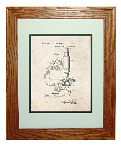 """Microscope And Counting Chamber Patent Art Old Look Print In A Honey Red Oak Wood Frame (11"""" X 14"""")"""