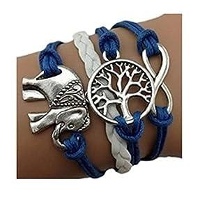 Bracelet Infini Arbre de Vie et Elephant / Infinity / One Direction / Love - Bleu / Argent