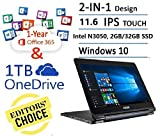 "ASUS Flagship Transformer Book Flip 11.6"" Touchscreen 2 in 1 Laptop Tablet laptop (Intel Dual Core up to 2.16 GHz, 2GB DDR3, 32GB eMMC, 802.11ac, Bluetooth, Windows 10) + 1-year Office 365 Personal"