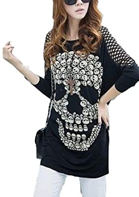 Women's T-shirt Print Skull Hollow Out Sleeve Clothes
