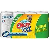 OKAY XXL Essuie Tout Blanc Format Familial 8 Rouleaux