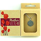 """MOTHER PENDANT GIFT BOX w/ """"Mother in 8 Languages"""" Medallion Pendant - Best Unique Creative Gifts for Mom Mother Gift Ideas"""