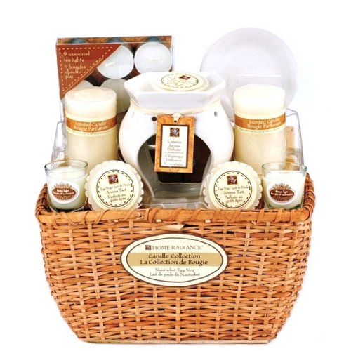 Eggnog Scented Candle & Home Fragrance Accessory Gift Basket - Includes Ceramic Oil Warmer & Wax Aroma Tarts - Valentines or Mothers Day Gift Idea