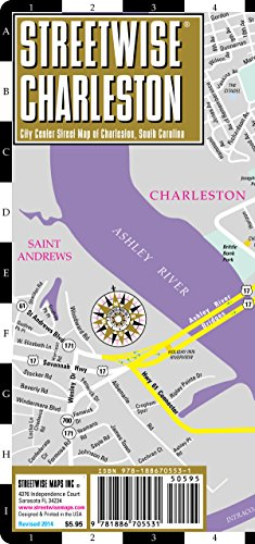 Streetwise Charleston Map - Laminated City Center Street Map of Charleston, South Carolina - Folding pocket size travel map