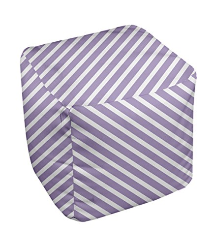 E by design Stripe Pouf, 13-Inch, 2Lilac Purple - 1