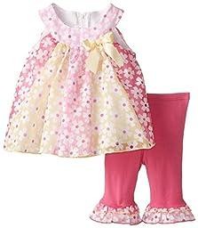 Bonnie Jean Baby-Girls Newborn Paneled Flower Print Legging Set,Pink,3-6 Months