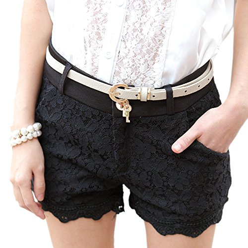 Zeagoo Women's Fashion Style Front Zip Lace High Waisted Shorts Hots Pants