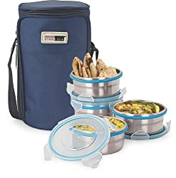 Steel Lock 1341 Airtight 4pc Steel Lunch box,Meal,Tiffin Box with Insulated Bag