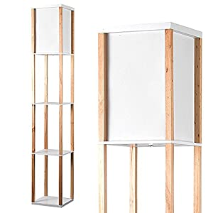 Modern Wooden & White Fabric Floor Lamp with Built In Shelving Units from MiniSun