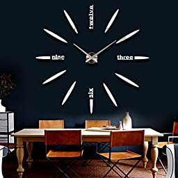 Alrens_DIY(TM)Luxury Personalized English Letters Design Modern DIY Frameless 3D Big Mirror Surface Effect Wall Clock Watches Living Room Bedroom Office Décor Decoration Self-adhesive Decor Wall Sticker Creative Art Decal (MQ-007-Silver)