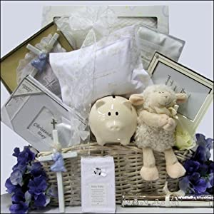 Great Arrivals Baby Christening Baptism Gift Basket, Beautiful Blessings on Your Christening Boy