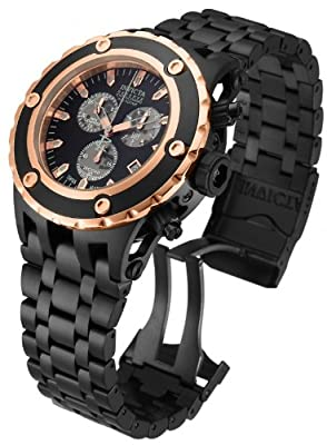 Invicta Mens Reserve Subaqua Specialty Swiss ETA Rose Gold & Black Stainless Steel Watch 15097