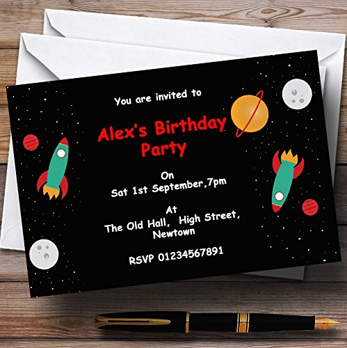 Outer Space Rocket Black Personalized Birthday Party Invitations (Outer Space Invitations compare prices)